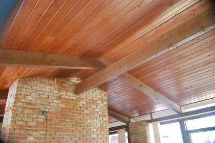 Livingroom wood ceiling